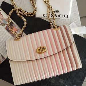 BRAND NEW COACH Parker Ombre Quilted Leather Chalk
